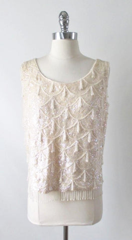 Vintage 60's Sequins Beaded White Shell Tank Top L