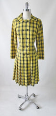 vintage 60's yellow black tartan plaid dropped waist double breasted pleated schoolgirl dress bombshell bettys vintage gallery