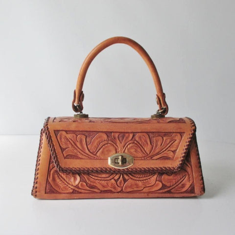 Vintage 50's Tooled Leather Top Handle Box Handbag
