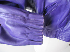 vintage 80's michael Hoban North Beach Leather purple womens jacket coat cuff 2
