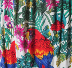 Vintage 70s Tropical Parrots Drawsting Tie Shift Dress One Size - Bombshell Bettys Vintage