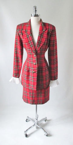 Vintage 80's Farouche Lori Weidner Tartan Plaid Jacket Skirt Suit Set M