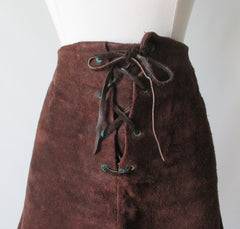 Vintage 60's 70's Brown Suede Leather Lace Front Mini Skirt M - Bombshell Bettys Vintage