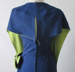 Vintage 50's Navy Blue Chartreuse Roses Strapless Sheath Dress & Wrap M - Bombshell Bettys Vintage