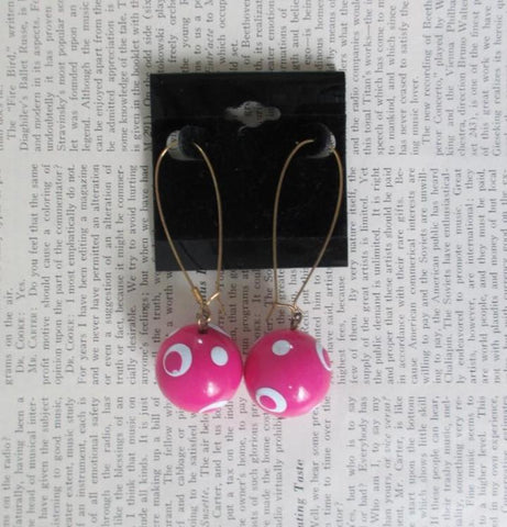 Vintage 80's Big Pink Plastic Ball Polka Dot Dangle Earring NOS
