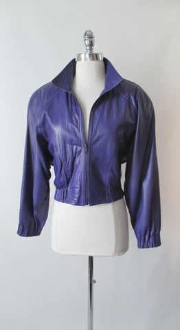 Vintage 80's North Beach Leather Hoban Purple Jacket S / M