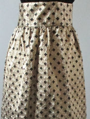 Vintage 60's Gold Lame Black Checker Diamond Hostess Evening Skirt M - Bombshell Bettys Vintage