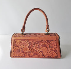 Vintage 50's Tooled Leather Top Handle Box Handbag - Bombshell Bettys Vintage