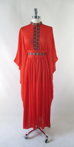 Vintage 60's Orange Batwing Caftan / Robe One Size