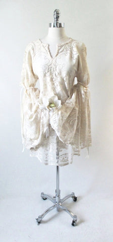 Vintage 70's Bell Sleeve Sheer Antique White Lace Hippie Wedding Dress S / M
