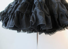 Black Organdy Full Crinoline Petticoat Sheer Slip Skirt One Size S / M / L - Bombshell Bettys Vintage