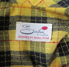 vintage 60's yellow black tartan plaid dropped waist double breasted pleated schoolgirl dress bombshell bettys vintage tag