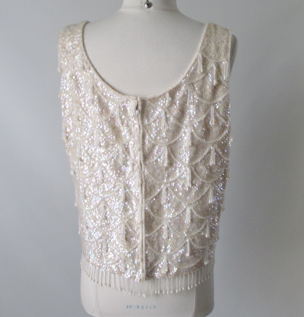 cdf1bc167e06f 60 s Sequins Beaded White Shell Tank Top L - Bombshell Bettys Vintage