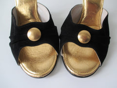Vintage 60's Black & Gold Polka Dot Floating Cantilever Heels / Shoes 9 - Bombshell Bettys Vintage