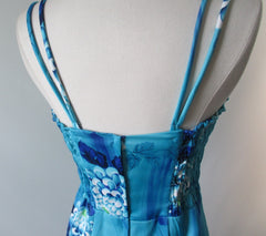 Vintage Late 60's Blue Hawaiian Sarong 50's Style Dress Full Length Strapless Gown M S - Bombshell Bettys Vintage