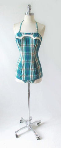 Vintage 50's Rose Marie Ried Turquoise Plaid One Piece Swimsut S