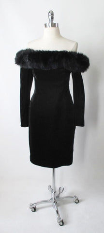 Vintage 80's Tadashi Black Velvet Off Shoulders Strapless Fur Trim Dress S