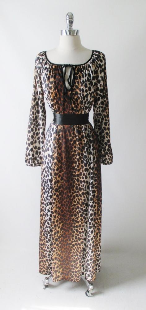 vintage 60's 70's leopard print nightgown maxi lounge gown dress bombshell bettys vintage