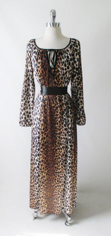 Vintage 60's Leopard Night Gown Evening Dress S / M