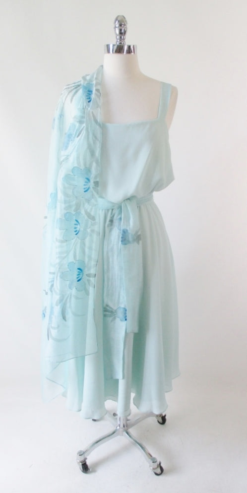 Vintage 70's Airy Blue Summer Dress & Beaded Flower Shawl L - Bombshell Bettys Vintage