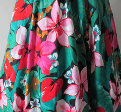 • Vintage 80's / 50's Inspired Tropical Flowers Full Skirt Day Dress - Bombshell Bettys Vintage
