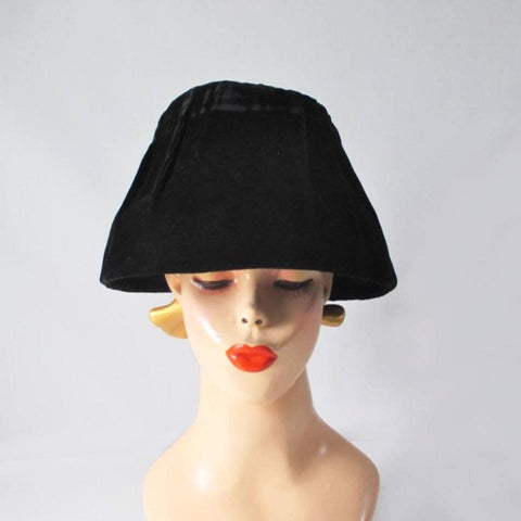 Vintage 50's 60's Black Velvet Bucket Hat