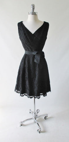 Vintage 60's Black Lace Cocktail Party Dress M