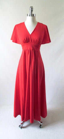Vintage 70's Red Flutter Sleeve Maxi Dress Gown S