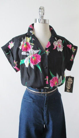 Vintage 80's Black Hawaiian Rayon Blouse Top Pink Orchids NOS L