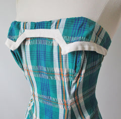 Vintage 50's Rose Marie Ried Turquoise Plaid One Piece Swimsut S - Bombshell Bettys Vintage