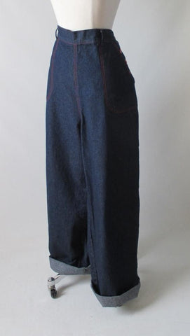 Vintage 30's / 40's Style Side Button High Waist Retro Jeans  Trousers XL 1X 34