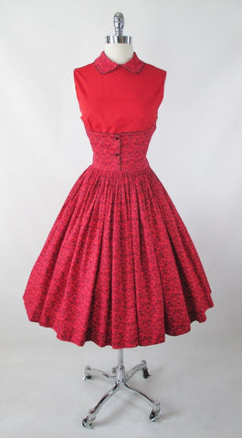 Vintage 50's Red Floral Full Skirt Day Dress M