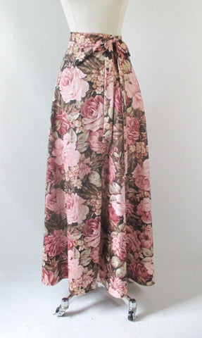 Vintage 70's Wrap Around Pink Roses Maxi Skirt L / M