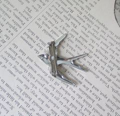 Vintage 40's Cut Steel Silver Sparrow Brooch Pin Germany - Bombshell Bettys Vintage