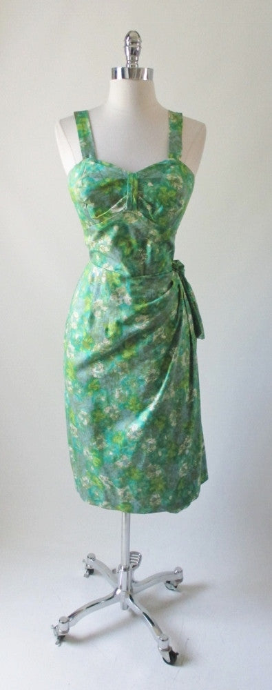 Vintage 50's 60's Mid Century Green Watercolor Sarong Culotte Shorts Dress - Bombshell Bettys Vintage