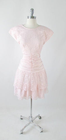 Vintage 80's Soft Pink lace Mini Dress L