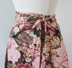 Vintage 70's Wrap Around Pink Roses Maxi Skirt L / M - Bombshell Bettys Vintage