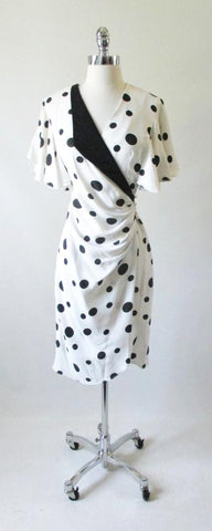 Vintage 80's Black White Polka Dot Geometric Wrap Dress M