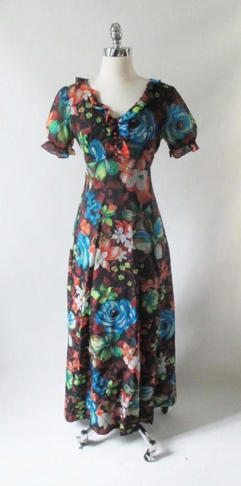 vintage 70's sheer puff sleeve wedding bridesmaid party flower floral maxi dress blue roses special occasion gown bombshell bettys vintage