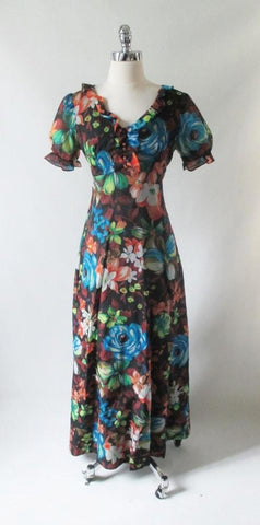 Vintage 70's Puff Sleeve Floral Chiffon Maxi Dress Party Gown