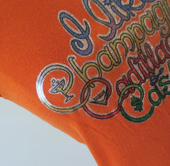 Vintage 70's Glitter T Shirt Champagne Cadillacs & Cash L - Bombshell Bettys Vintage