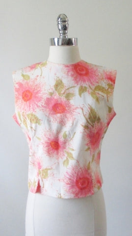 Vintage 60's 50's Sleeveless Pink Flower Button Back Shell Top