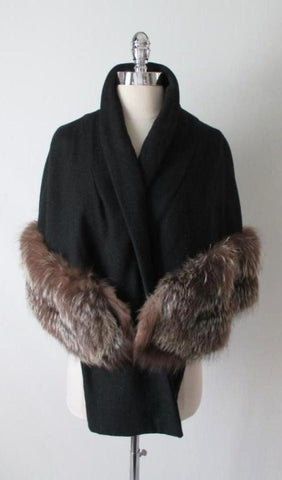 Vintage 40's 50's Black Wool Fox Fur Wrap Cape Shawl One Size