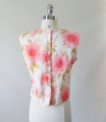 Vintage 60's 50's Sleeveless Pink Flower Button Back Shell Top - Bombshell Bettys Vintage