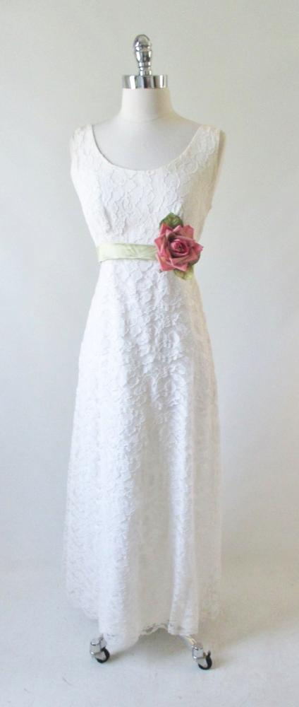 vintage 60's white lace wedding dress full length gown green satin bows gallery
