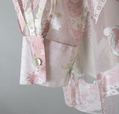 Vintage Sheer Paris Pink 90's Floral Blouse Overshirt Top Shirt One Size - Bombshell Bettys Vintage