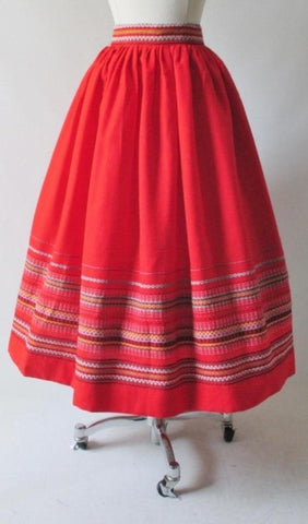 Vintage 50's Red Embroidered Full Swing Skirt S