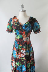 Vintage 70's Puff Sleeve Floral Chiffon Maxi Dress Party Gown - Bombshell Bettys Vintage