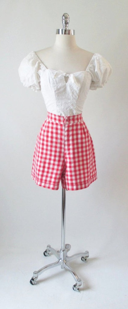 70's 40's vintage red white gingham shorts gallery