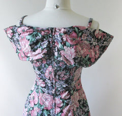 Vintage 90's Cold Shoulder Floral Mini Dress M